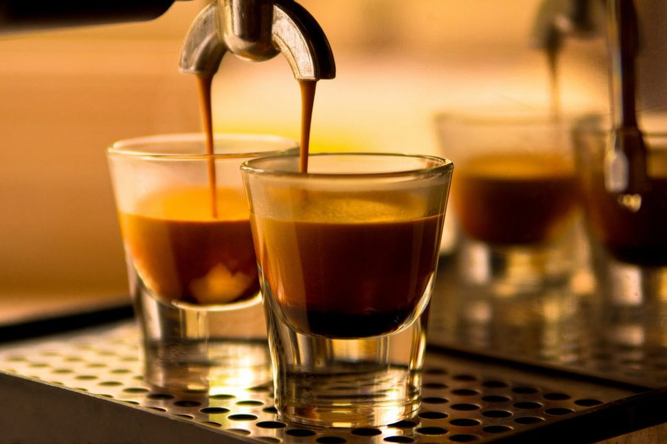 Espresso shots being pulled