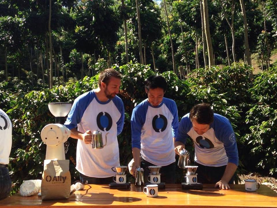 Tetsu, Todd Goldsworthy, and James Tooill use a Kalita to brew coffee on Matilde farm
