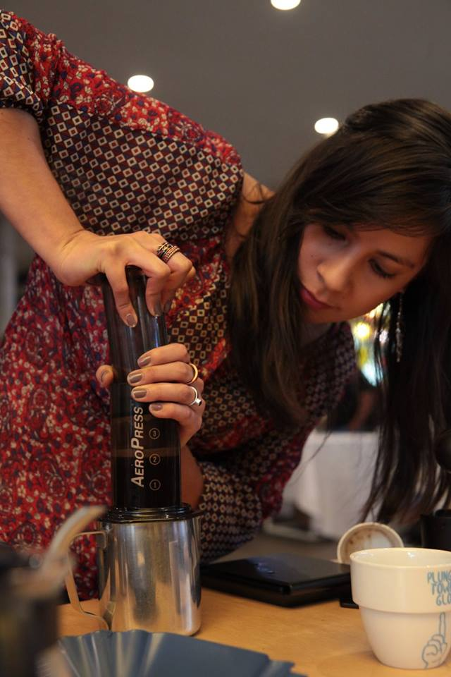 Caro Madrid uses the AeroPress