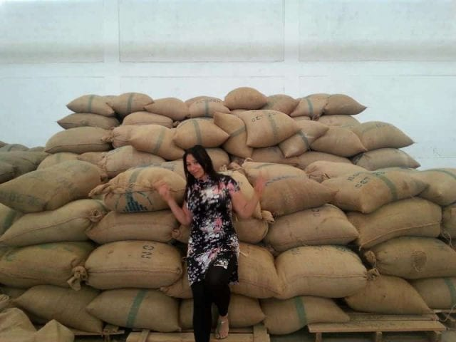 bags of green coffee