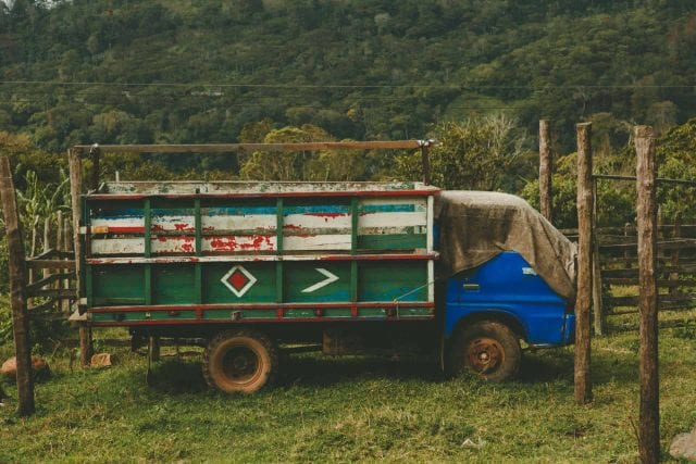 truck on coffee farm
