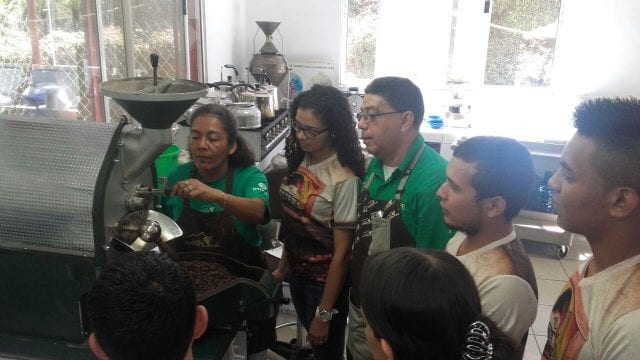 Students learn about roasting coffee.