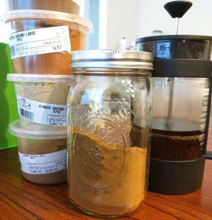 Spices and French press coffee