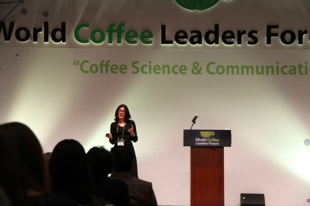 Mery Santos of IWCA presenting at World Coffee Leaders Forum 2016