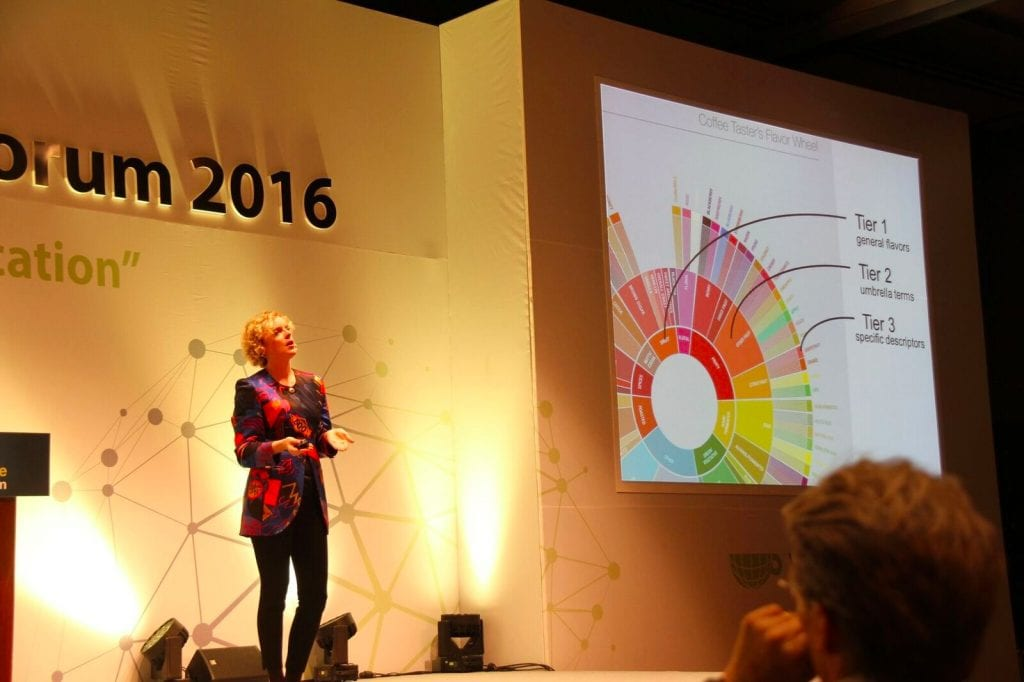 Emma Sage of SCAA on stage at World Coffee Leaders Forum 2016