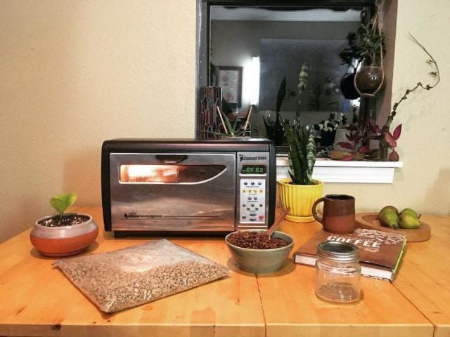 The Behmor coffee roaster in action.