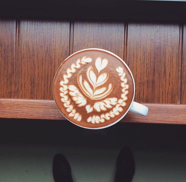 Latte art from the top