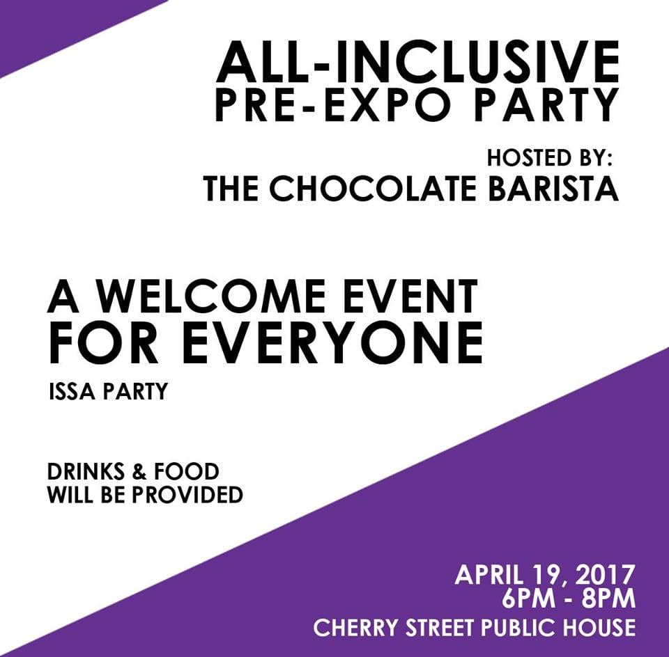 Flyer for The Chocolate Barista SCA party
