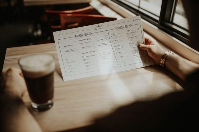 menu de cafe