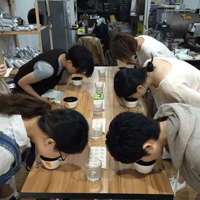 Grupo de baristas catando