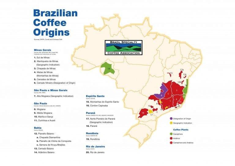 Mapa de las regiones cafeteras de Brasil
