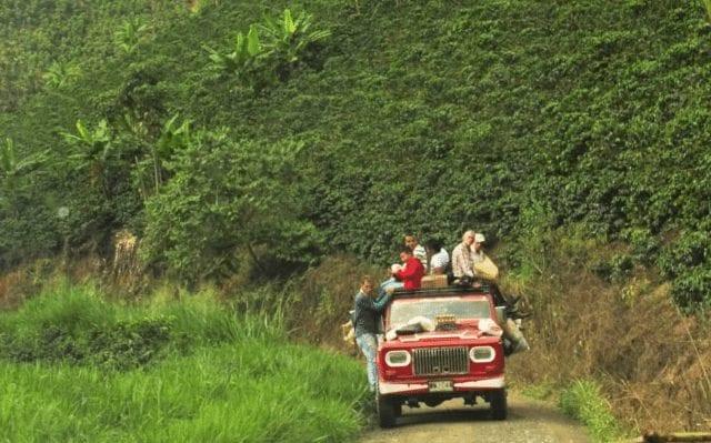 Productores de café transportando su cosecha