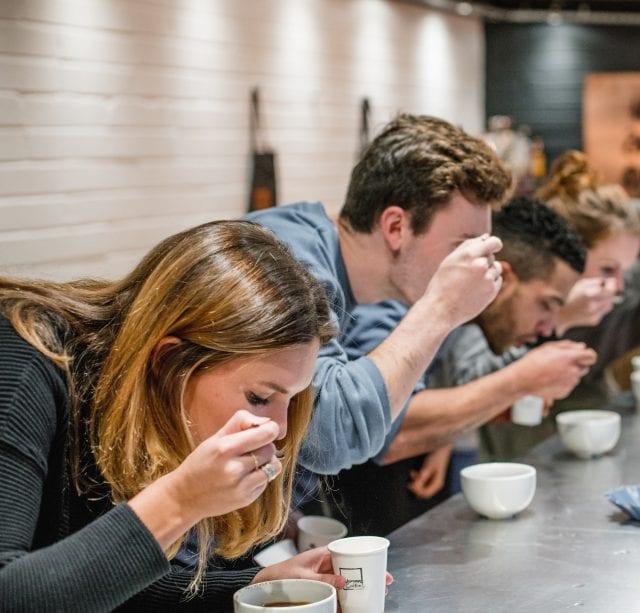 Cupping decaf Honduran Cafélatera at Wogan Coffee. Credit: Josh Perrett