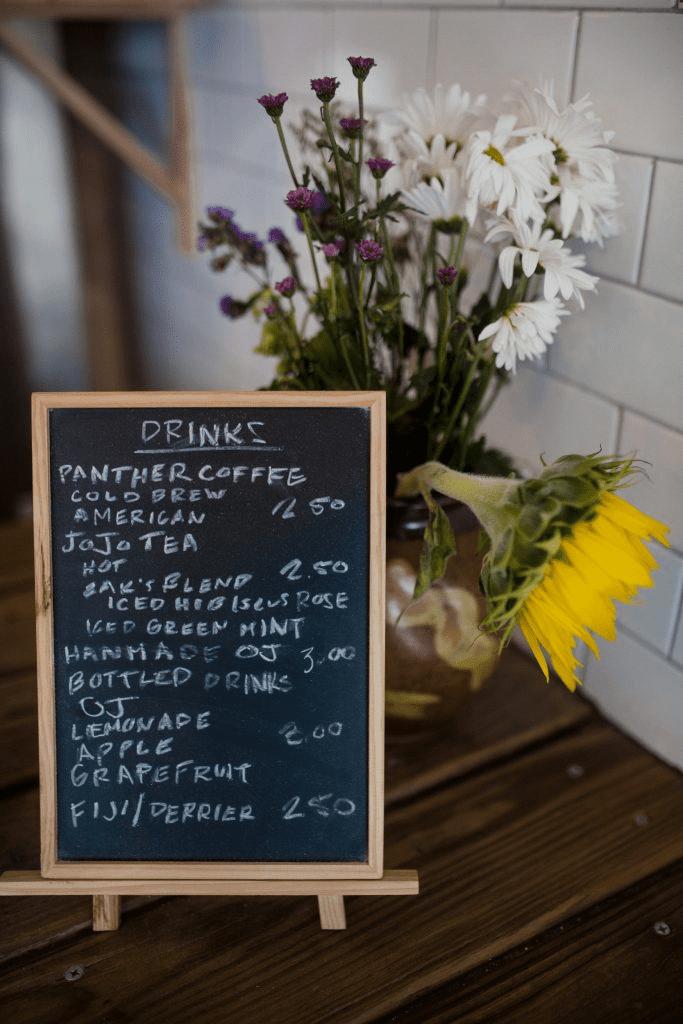 menu de bebidas