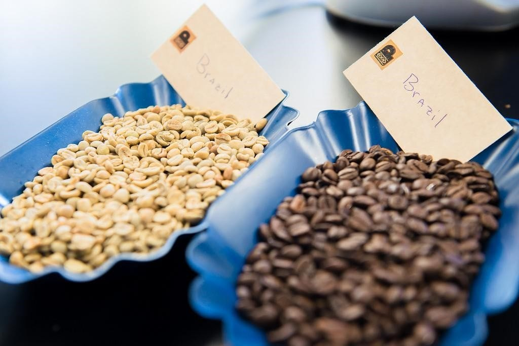 Green and roasted Brazilian coffees