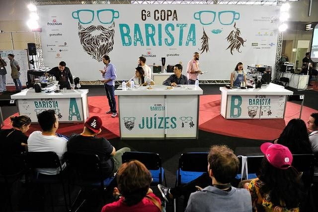 Judges on-stage during Brazilian barista championship
