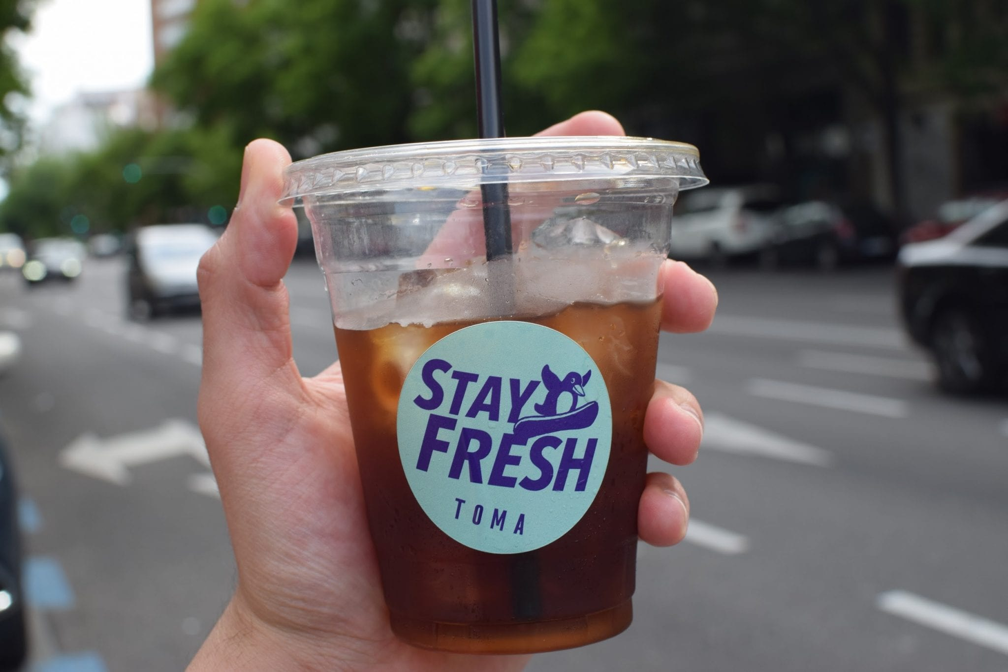 A cup of iced cold brew coffee from Toma cafe.