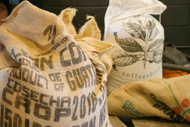 Bags of green coffee beans