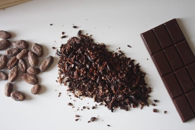 Cacao beans, cacao nibs, and a chocolate bar.