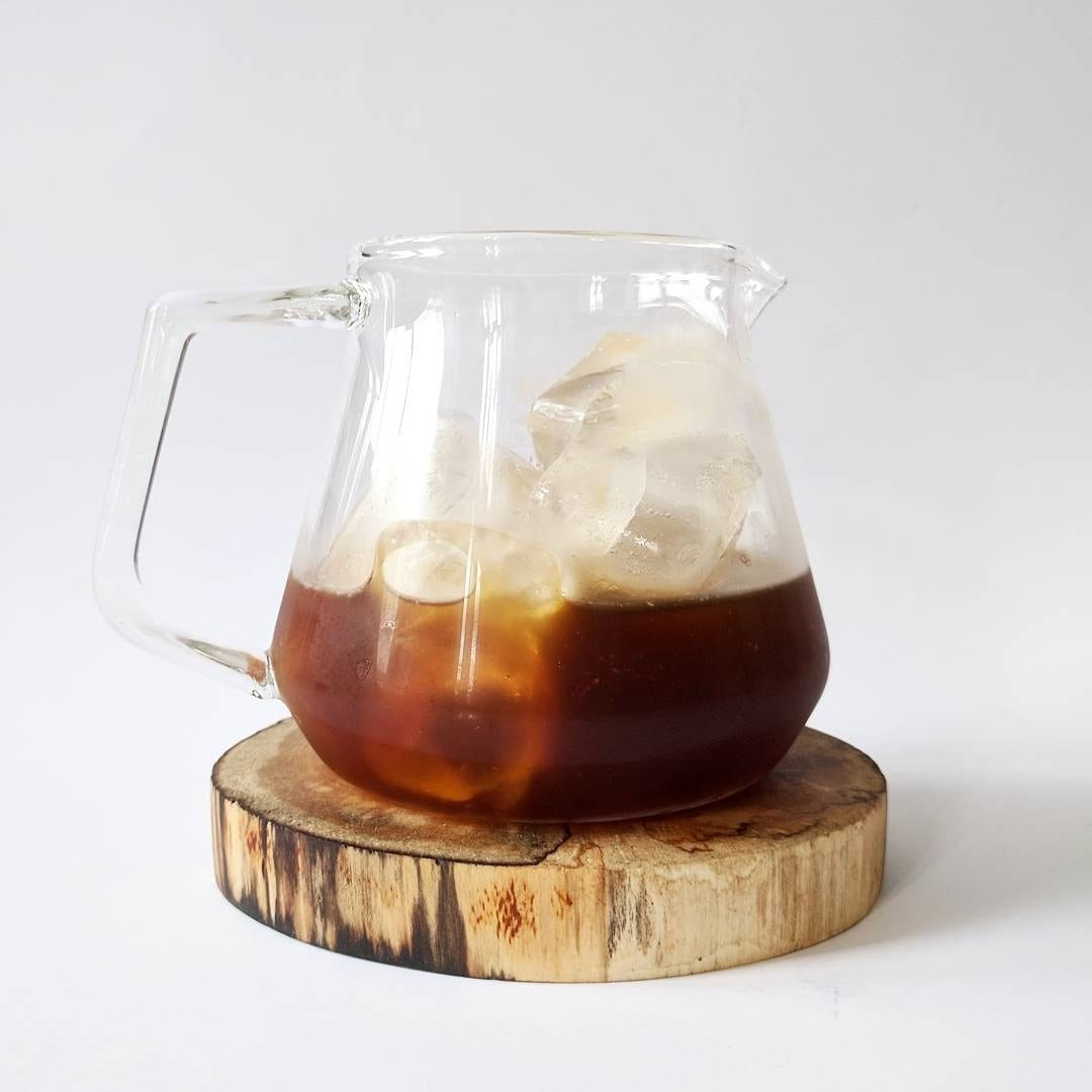 A jug of iced cold brew coffee.