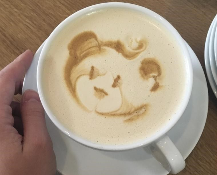 An innovative drink with a bear art