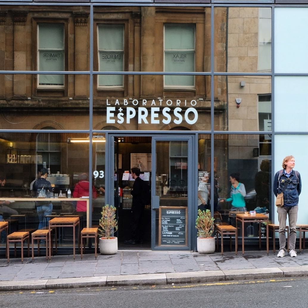 Exterior view of Laboratorio Espresso coffee shop, Glasgow.