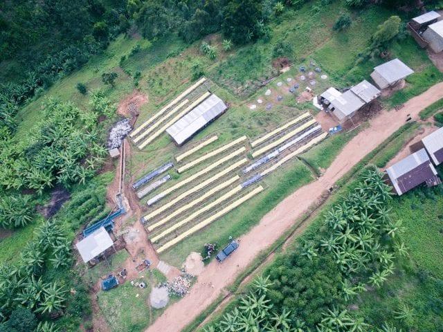 Vista aerea de finca en Ruanda