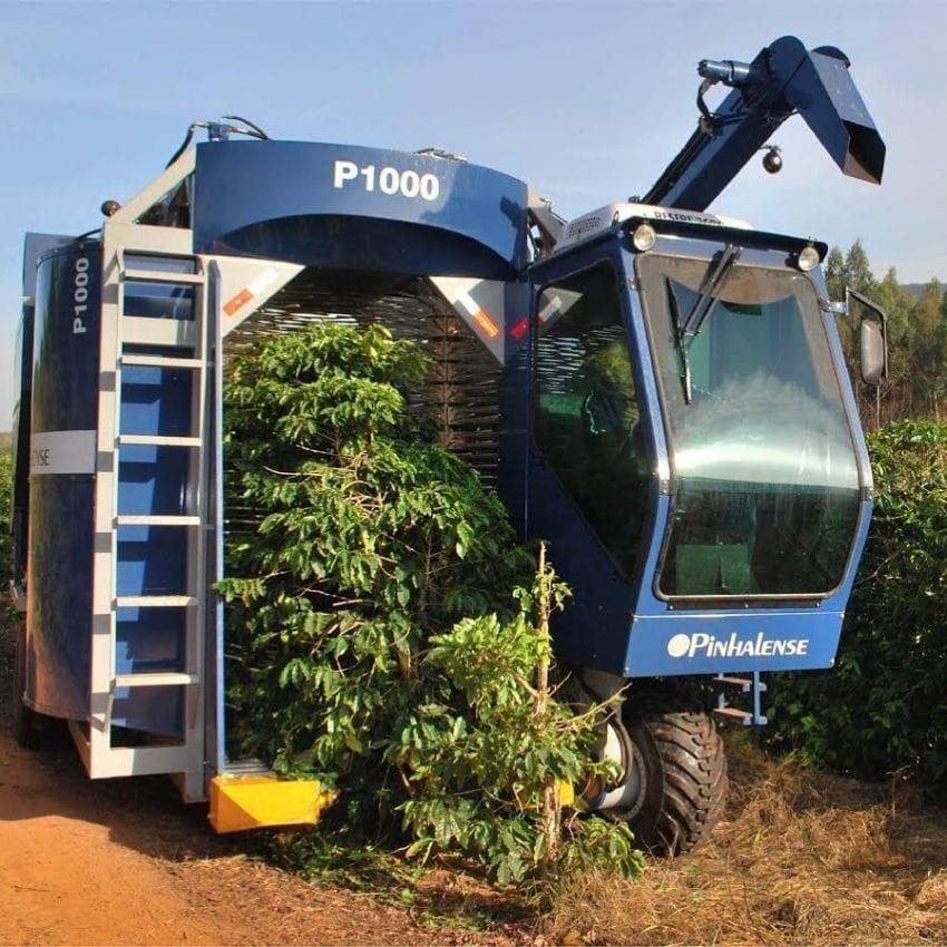 maquina recolectora de cafe usada en una finca en brasil