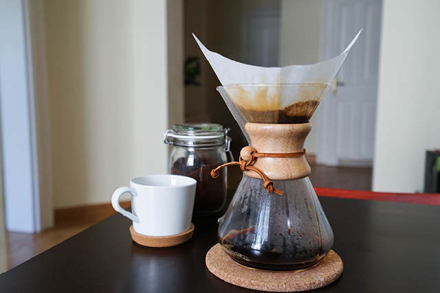 Coffee served on a chemex