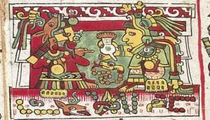 painting of mesoamerican rulers sharing xocolatl
