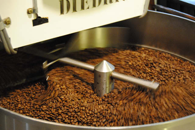 fresh coffee being roasted