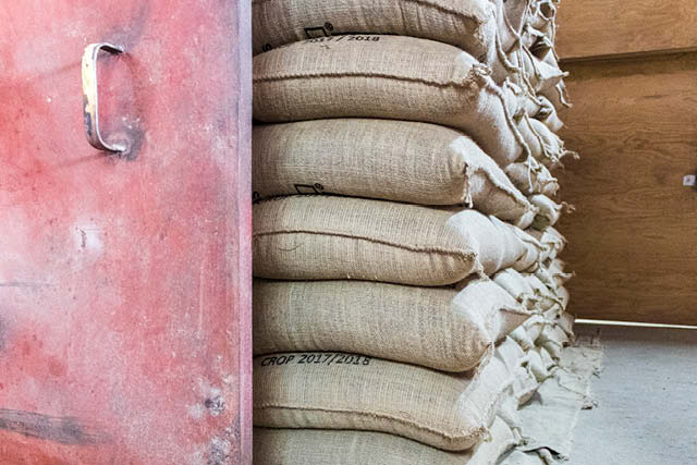 coffee bags in a warehouse