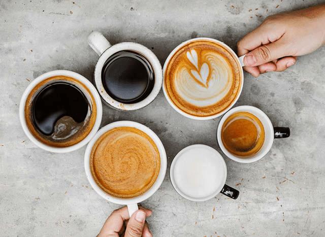 diferentes preparaciones de cafe