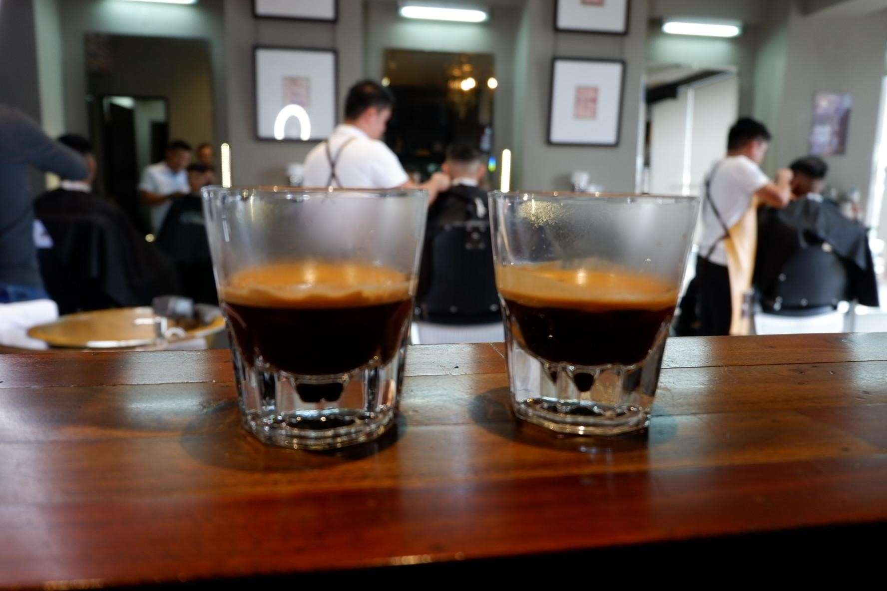 Two shots of espressos ready to be enjoyed