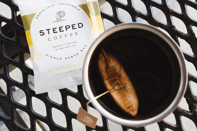Steeped brand coffee bag in a cup