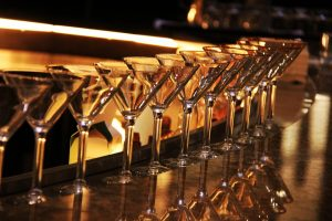 martini glasses lined up