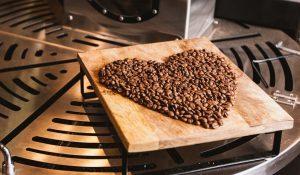 coffee beans shaped as a heart