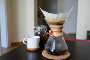 chemex and cup on table