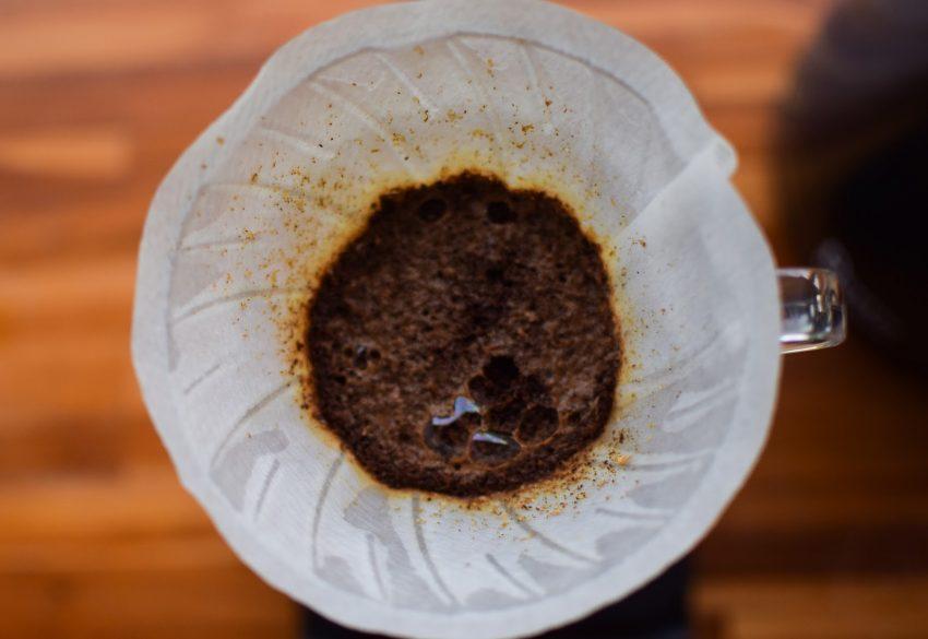 cafe mojado en un filtro de papel