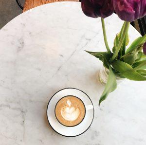 milk based coffee drink on table