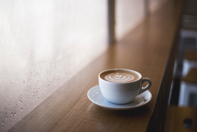 Latte served on table