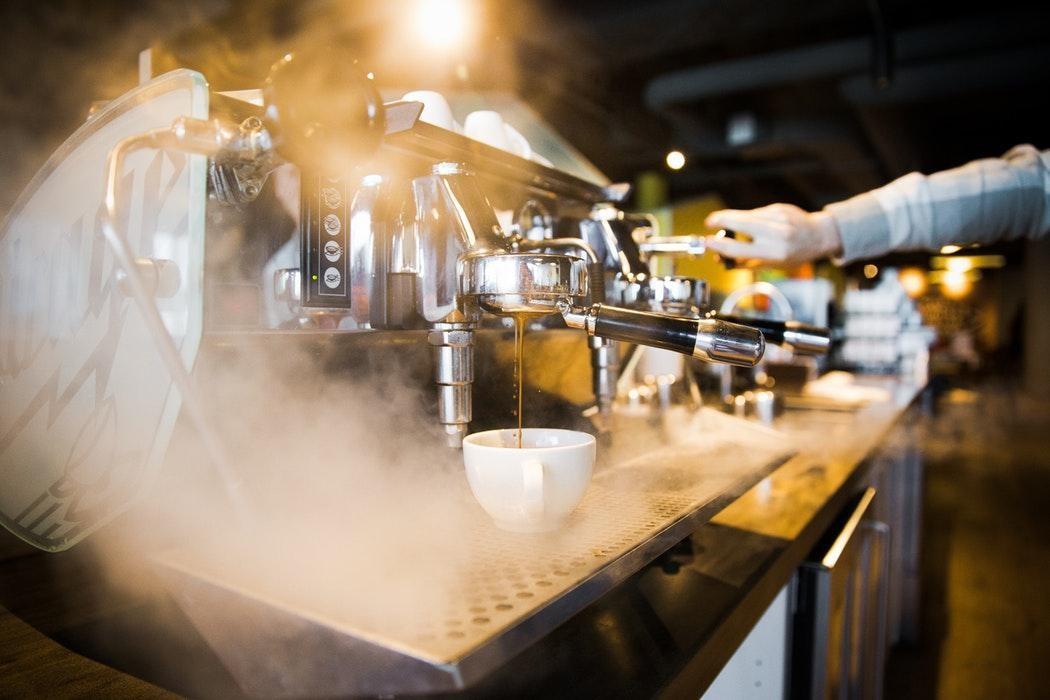 vapor de una maquina espresso