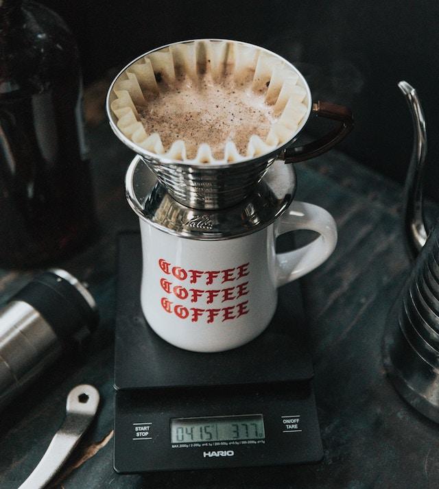 coffee being brewed on kalita wave