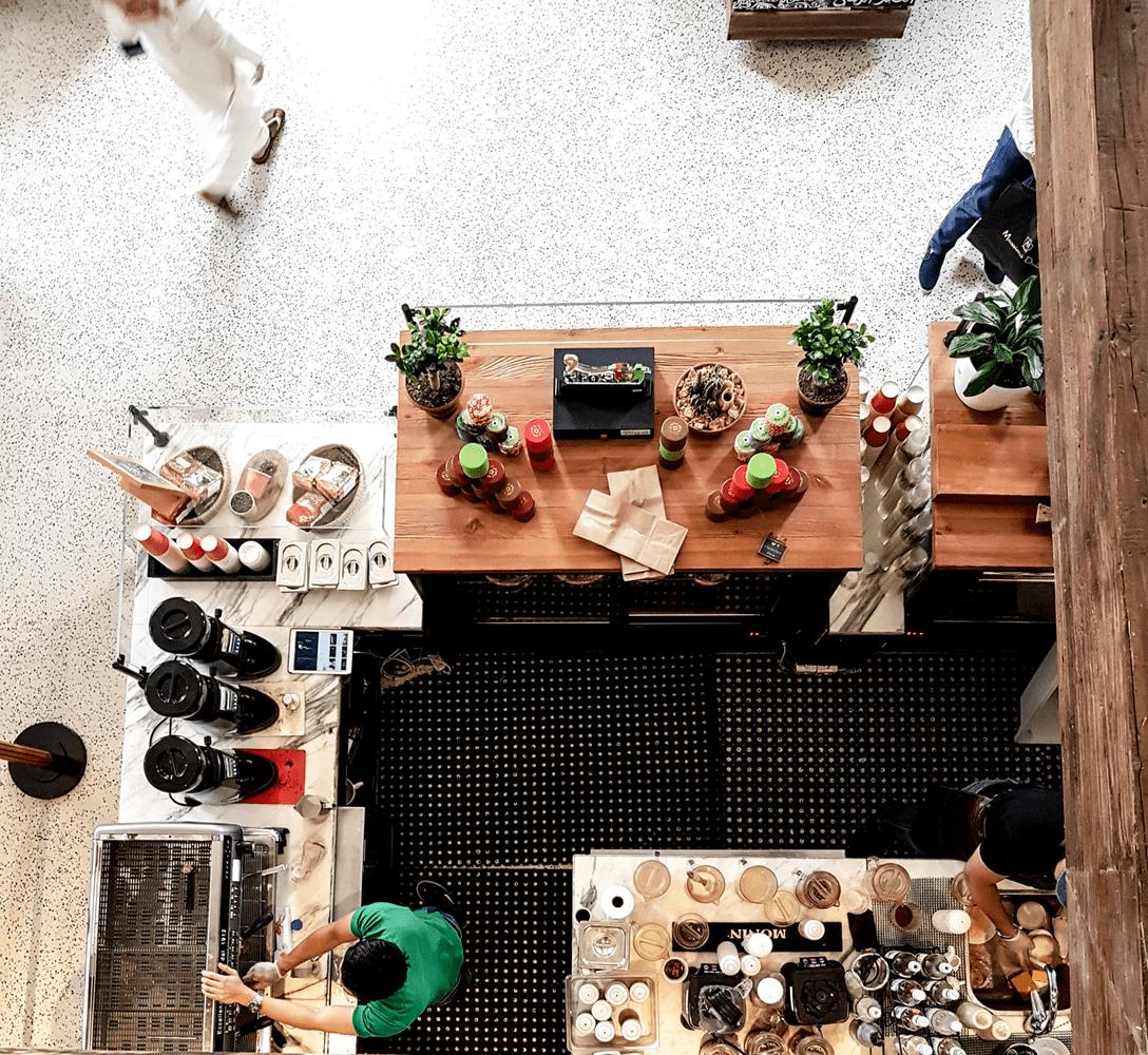 a beautiful coffee bar ready to work