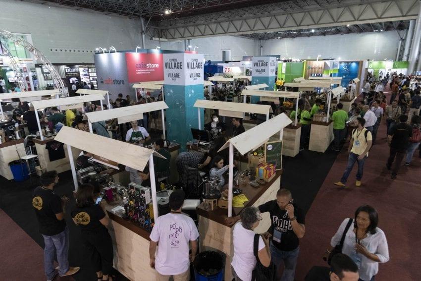 Una feria de cafe en Brasil