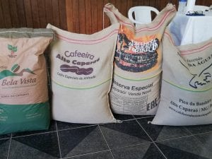 coffee bags lined up on the floor