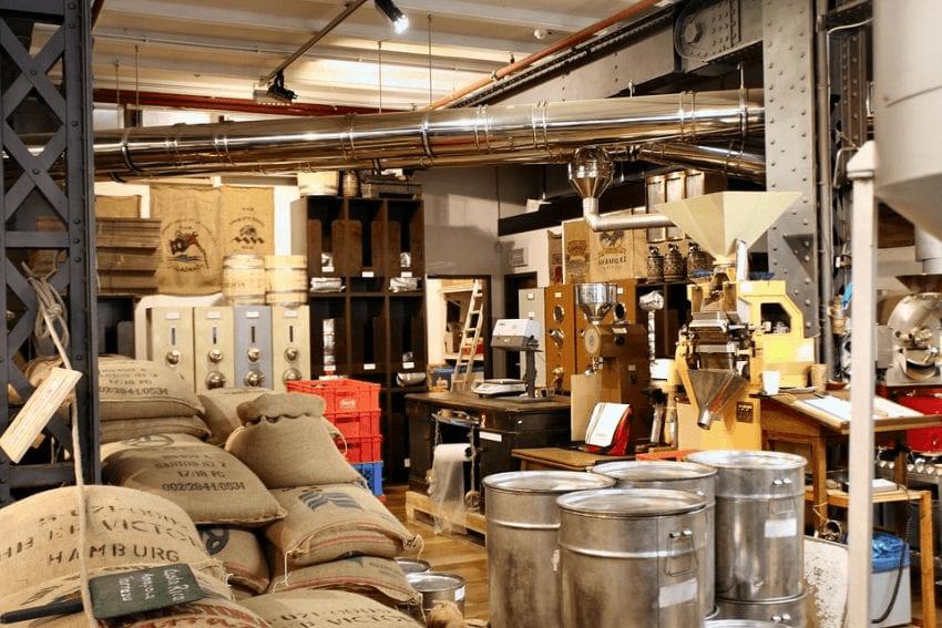 bodega de cafe de una tostaduria
