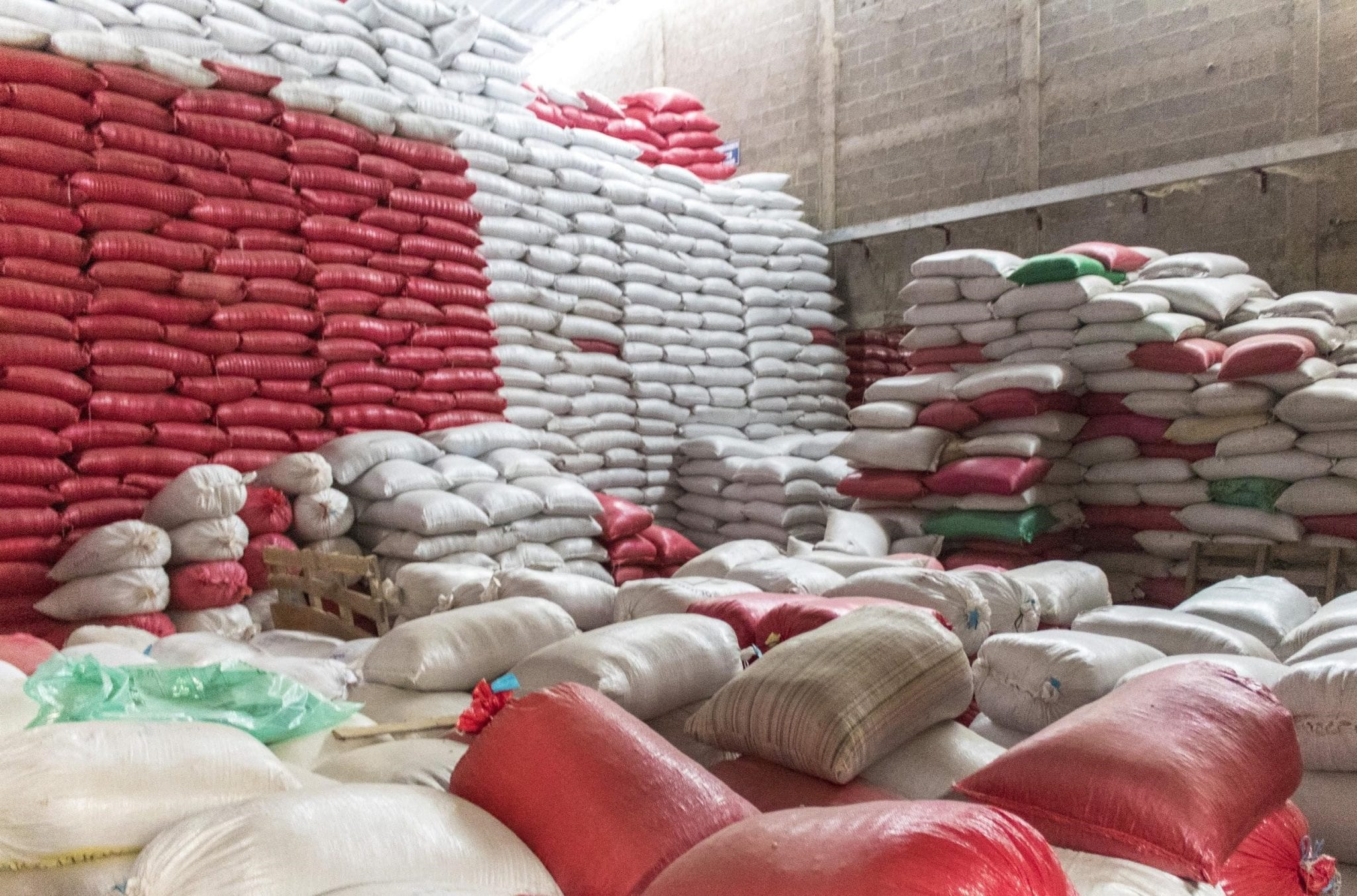 a lot coffee bags ready to be exported