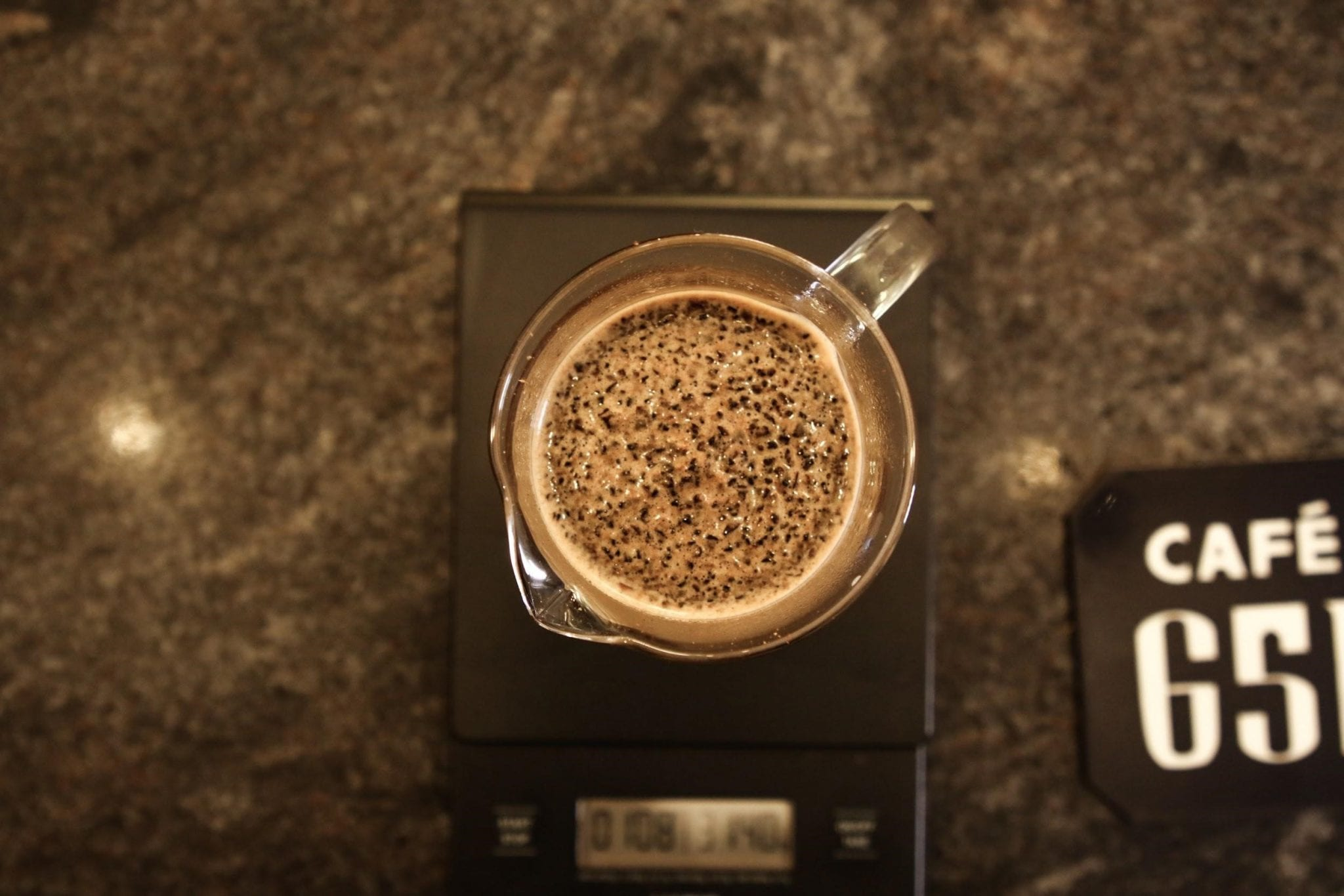 coffee being brewed on a french press
