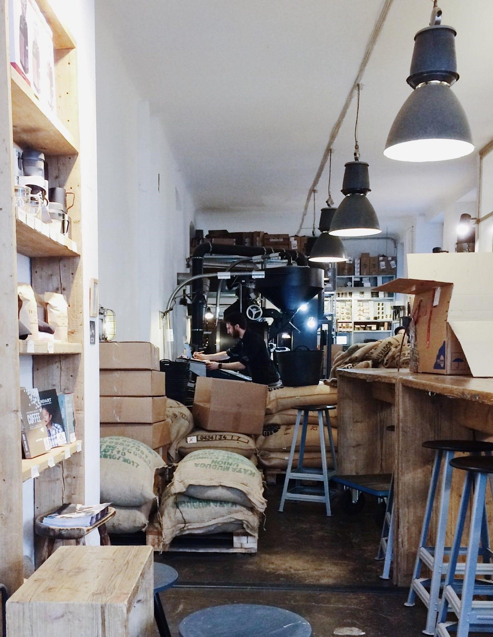 a roastery into a coffee shop